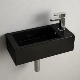 Lave mains Noir gain de place 50x25 cm, céramique, Pure