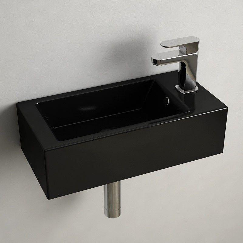 Lave main noir gain de place 50x25 cm en c ramique pure - Lavabo gain de place pour machine a laver ...