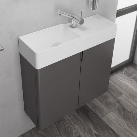 Meuble lave main gain de place 60x20 cm lavabo composite - Meuble 20 cm de large ...