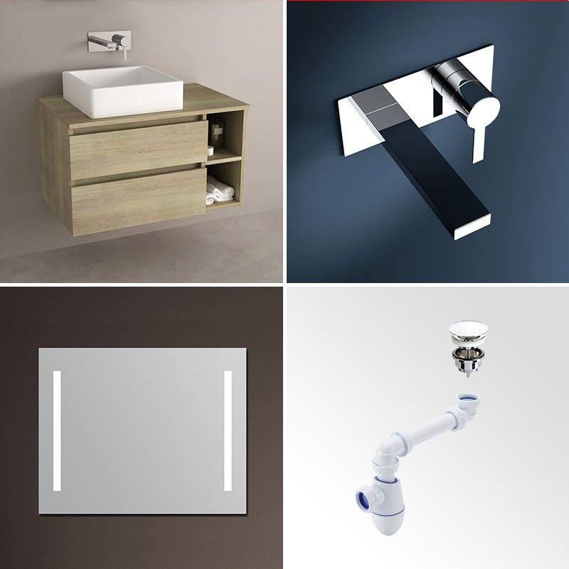 Meuble de salle de bain clair avec tiroirs for Meuble vasque 80