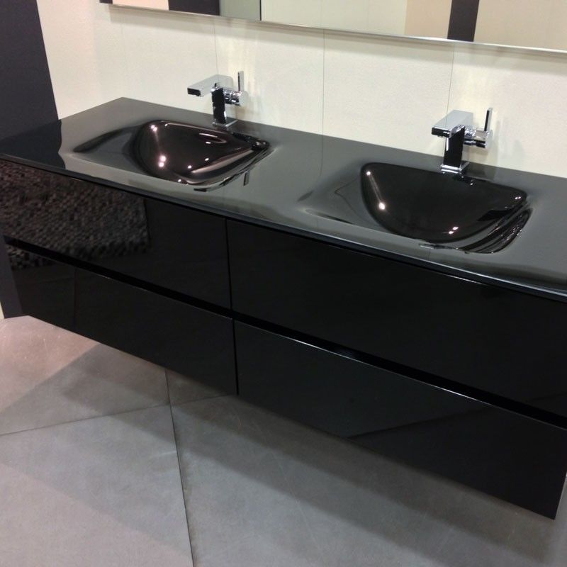 meuble salle de bain noir 150 cm 4 tiroirs plan verre glass. Black Bedroom Furniture Sets. Home Design Ideas