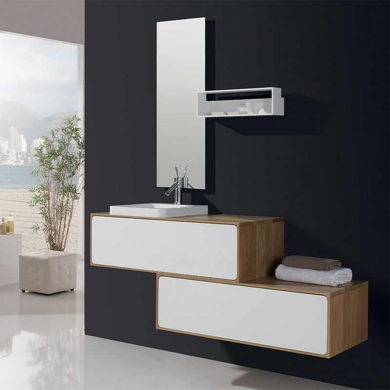 meuble salle de bain blanc et ch ne 100 cm 1 tiroir vasque composite puma. Black Bedroom Furniture Sets. Home Design Ideas