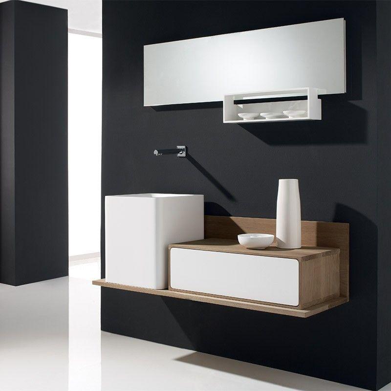 meuble salle de bain blanc et ch ne 130 cm 1 tiroir vasque composite puma. Black Bedroom Furniture Sets. Home Design Ideas