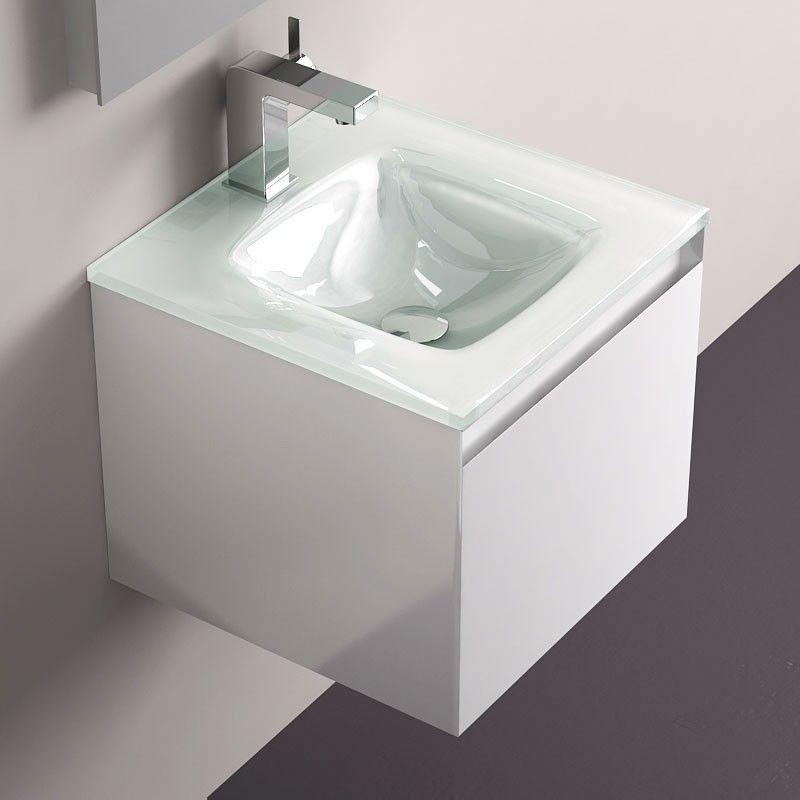 Meuble salle de bain blanc 40 cm tiroir plan verre glass for Meuble vasque salle de bain 40 cm
