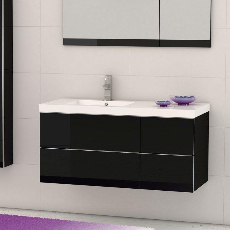 Meuble salle de bain 105 cm plan vasque r sine 4 tiroirs for Meuble de salle de bain 4 tiroirs