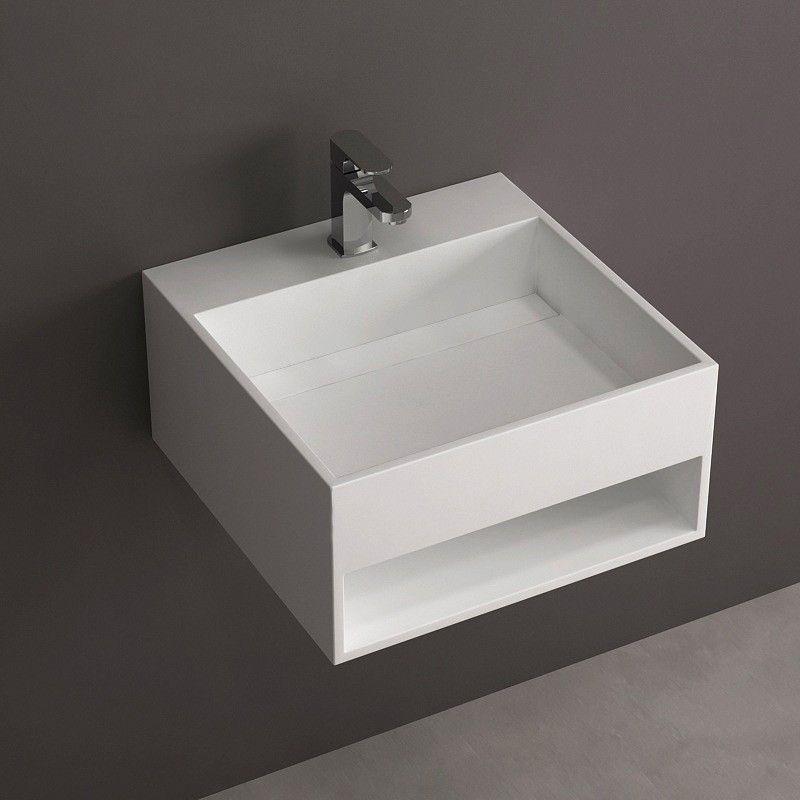 Lave mains suspendu 50x50 cm mati re composite mineral for Salle de bain minerale