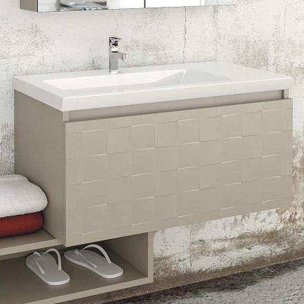 Meuble de salle de bain 85 cm space plan vasque c ramique for Meuble salle de bain vasque ceramique
