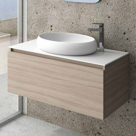 Meuble de salle de bain 100 cm space vasque solid surface for Meuble de 60 cm de large