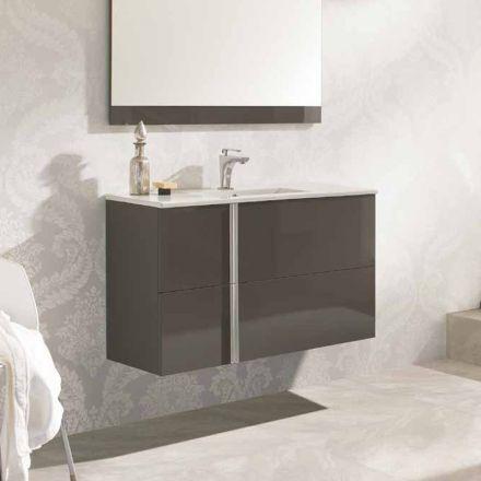meuble salle de bain 100 cm 2 tiroirs vasque c ramique onix. Black Bedroom Furniture Sets. Home Design Ideas