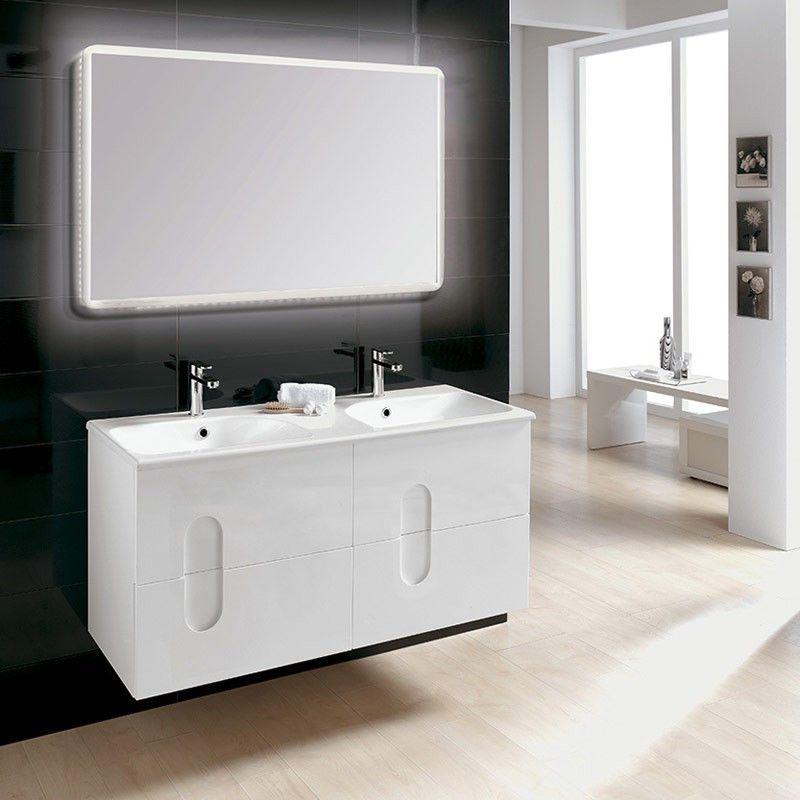 Meuble salle de bain 120 cm 4 tiroirs plan vasque en for Meuble salle de bain 120