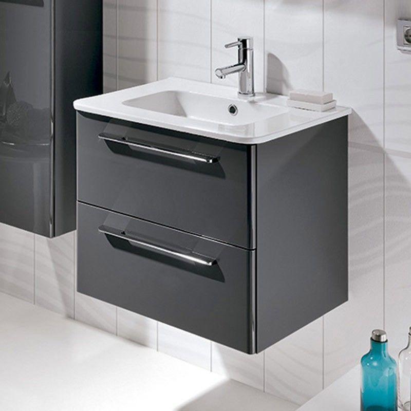 Meuble salle de bain 60 cm 2 tiroirs klea for Meuble 2 tiroirs
