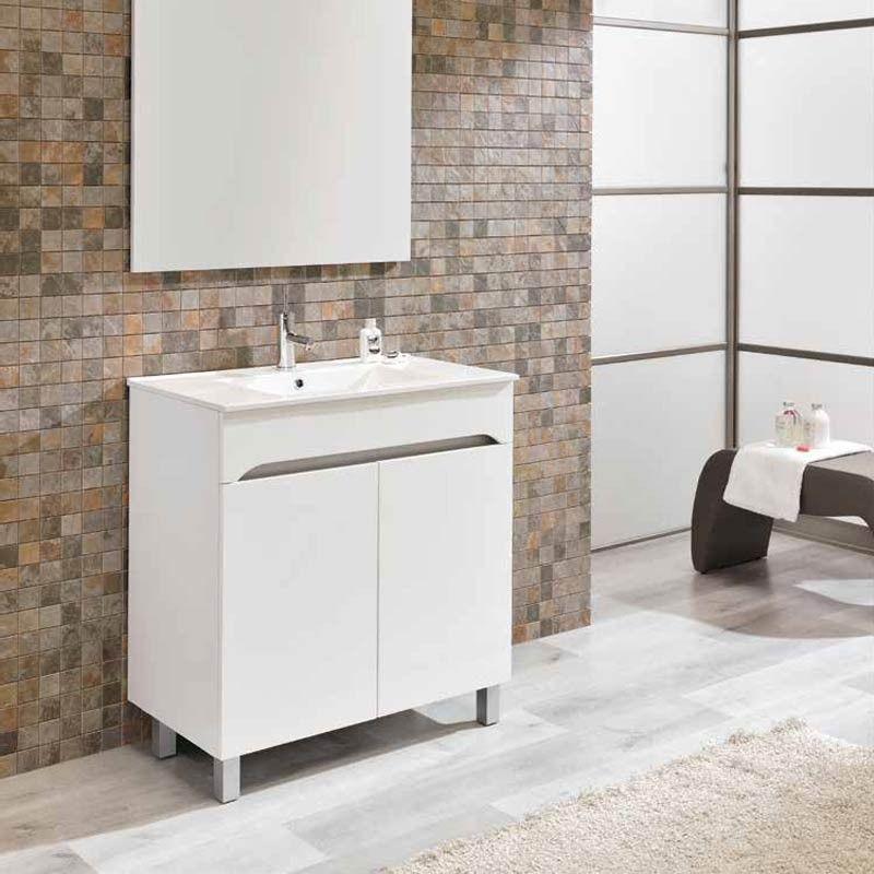 Meuble salle de bain 80 cm 2 portes benissa for Meuble de salle de bain 2 portes