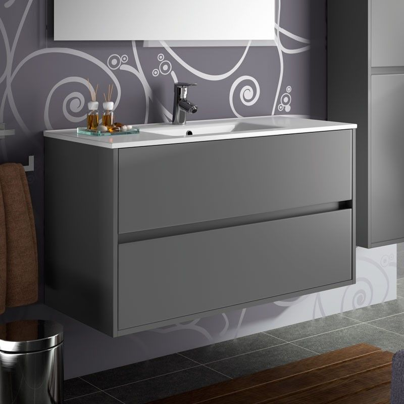 meuble salle de bain 100 cm 2 tiroirs vasque porcelaine gris aliso. Black Bedroom Furniture Sets. Home Design Ideas
