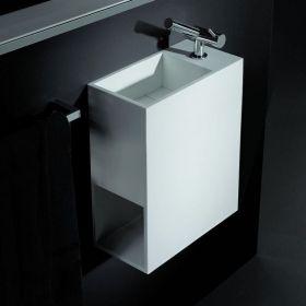 Lave mains suspendu 40x20x60 cm, matière composite, Mineral