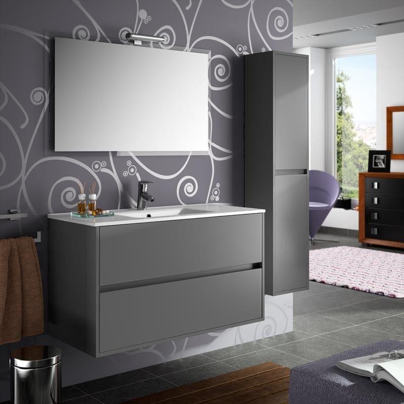 Meuble salle de bain 100 cm 2 tiroirs vasque porcelaine for Meuble sdb 100 cm