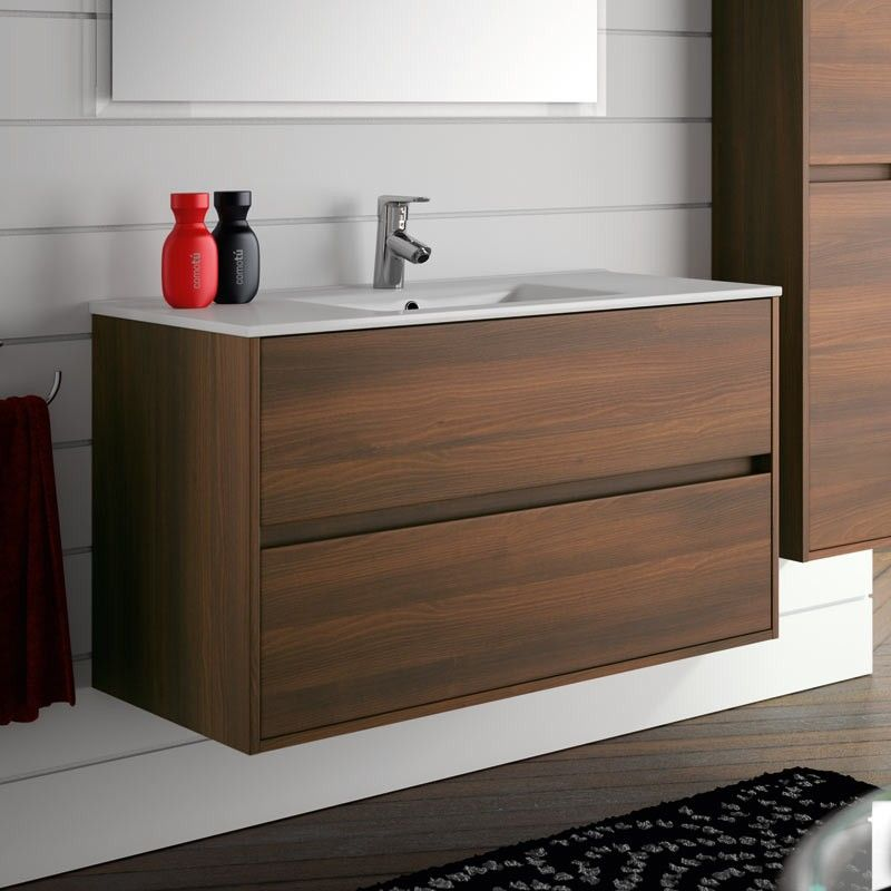 meuble salle de bain 100 cm 2 tiroirs vasque porcelaine acacia aliso. Black Bedroom Furniture Sets. Home Design Ideas