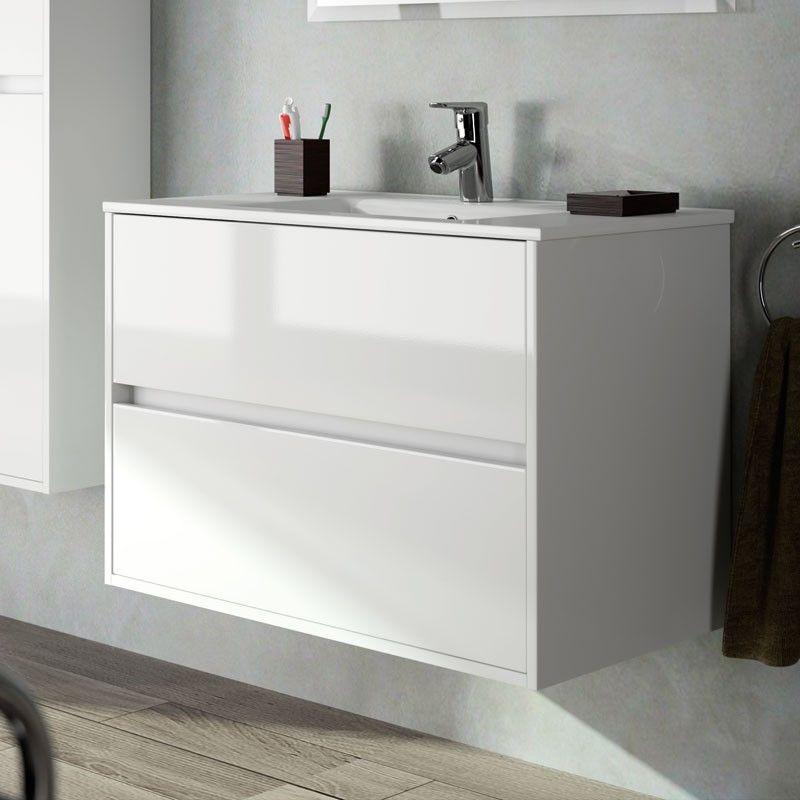 Meuble salle de bain 80 cm 2 tiroirs vasque porcelaine - Meuble vasque 80 cm ...