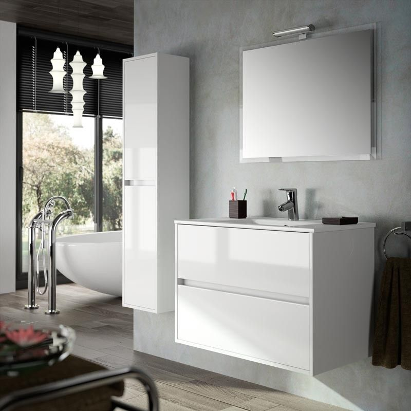 meuble salle de bain 80 cm 2 tiroirs vasque porcelaine blanc aliso. Black Bedroom Furniture Sets. Home Design Ideas