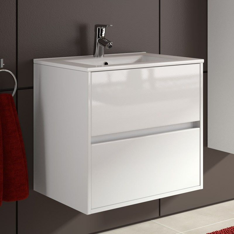Meuble salle de bain 60 cm 2 tiroirs vasque porcelaine blanc aliso - Vasque salle de bain 60 cm ...