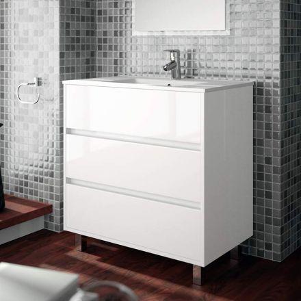 meuble salle de bain 80 cm 3 tiroirs vasque porcelaine blanc aliso. Black Bedroom Furniture Sets. Home Design Ideas