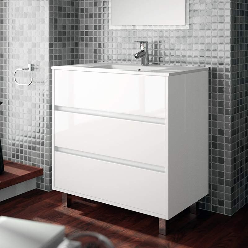 Meuble salle de bain 80 cm 3 tiroirs vasque porcelaine for Meuble salle de bain 80 cm blanc
