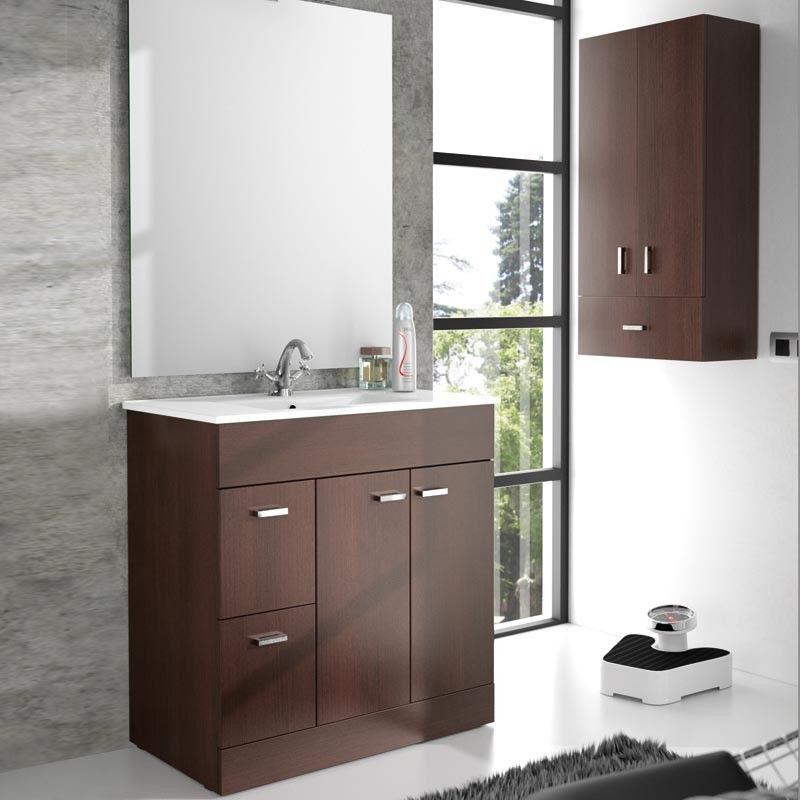 Armoire de rangement 94 cm 2 portes 1 tiroirs wengu for Armoire de rangement salle de bain