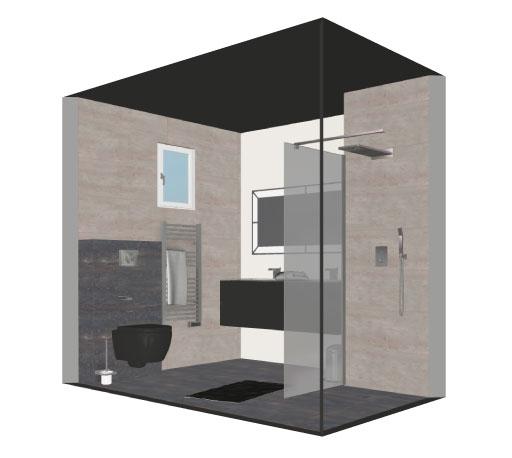 Salle de bain bathbox douche wc suspendu meuble vasque 3 84 m2 for Prix salle de bain m2