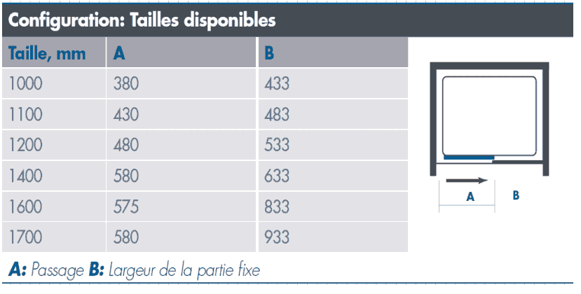 Porte de douche coulissante 100 170 cm o2 express for Largeur minimum porte