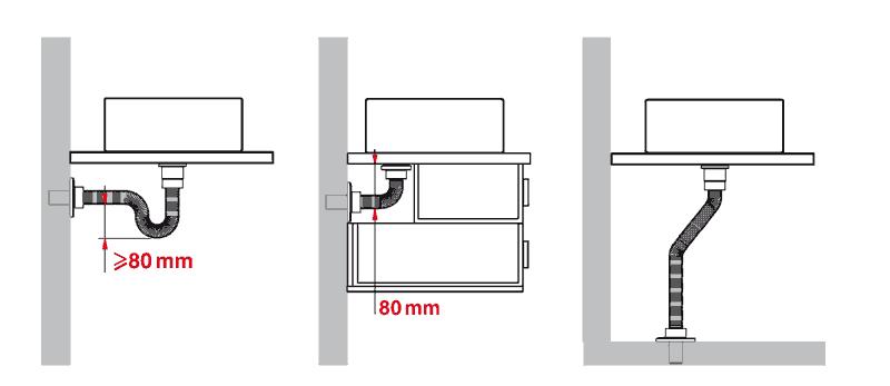 Siphon flexible passe partout en acier inox annel for Siphon salle de bain