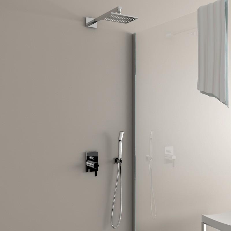 Pomme de douche carr e nova 20x15 cm for Support gel douche salle bain