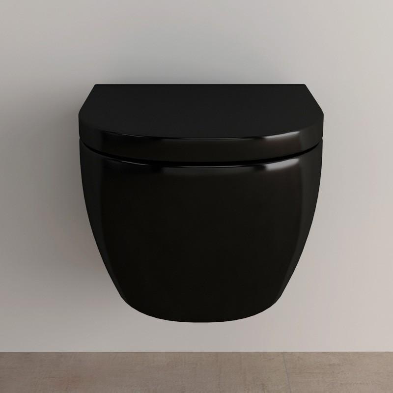 Wc suspendu orba compact noir 48 cm - Toilette noir suspendu ...