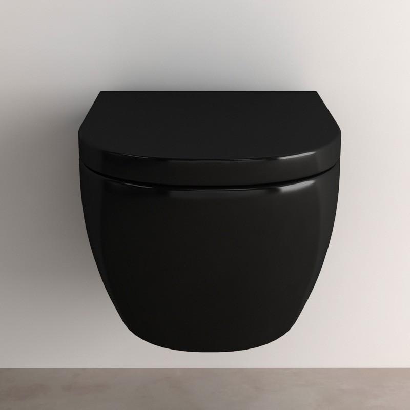 Wc suspendu pisa noir abattant - Toilette suspendu noir ...