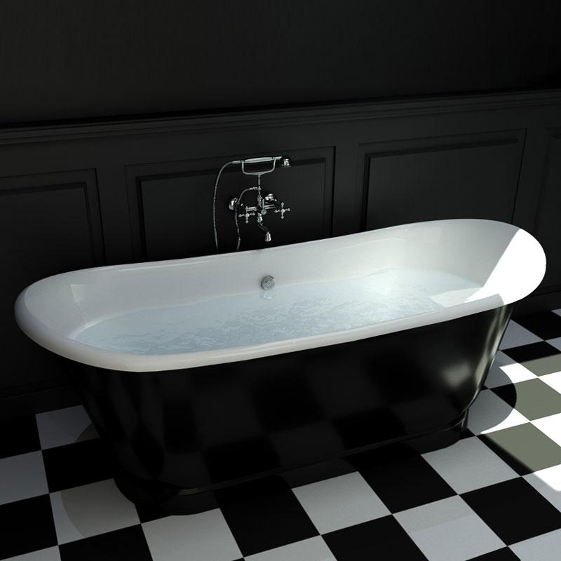 baignoire ilot en fonte 170x72 cm peinte en noir cambridge. Black Bedroom Furniture Sets. Home Design Ideas