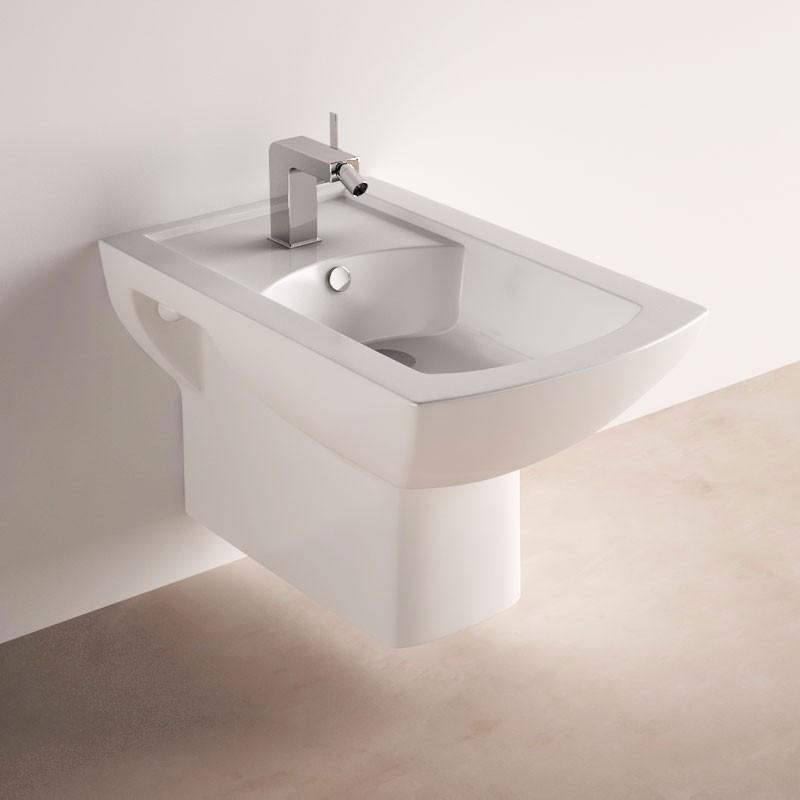 bidet suspendu en c ramique blanche cache trop plein chrom. Black Bedroom Furniture Sets. Home Design Ideas