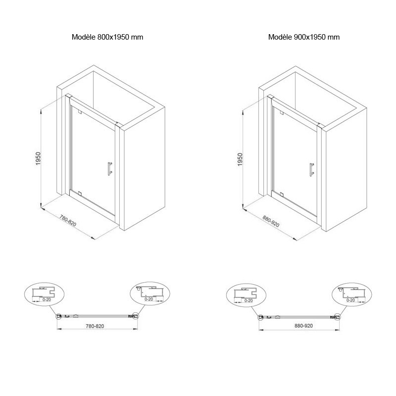 Sch ma technique porte de douche pivotante water for Porte de douche ajustable