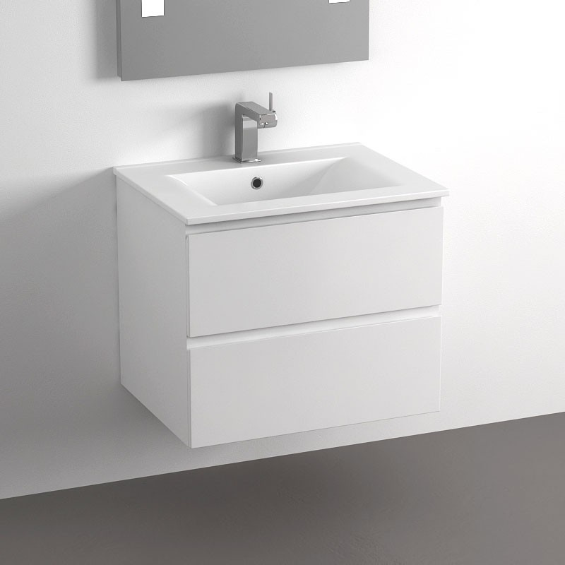 Meuble salle de bain 60 cm blanc 2 tiroirs plan - Meuble de salle de bain de qualite ...