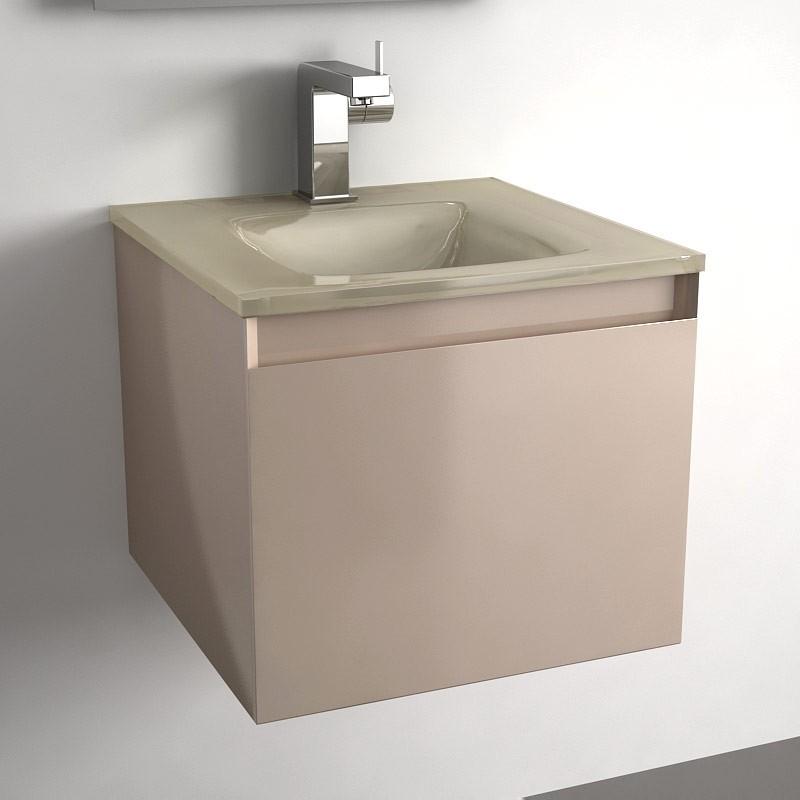 Meuble salle de bain taupe 40 cm 1 tiroir plan verre glass - Meuble de salle de bain taupe ...