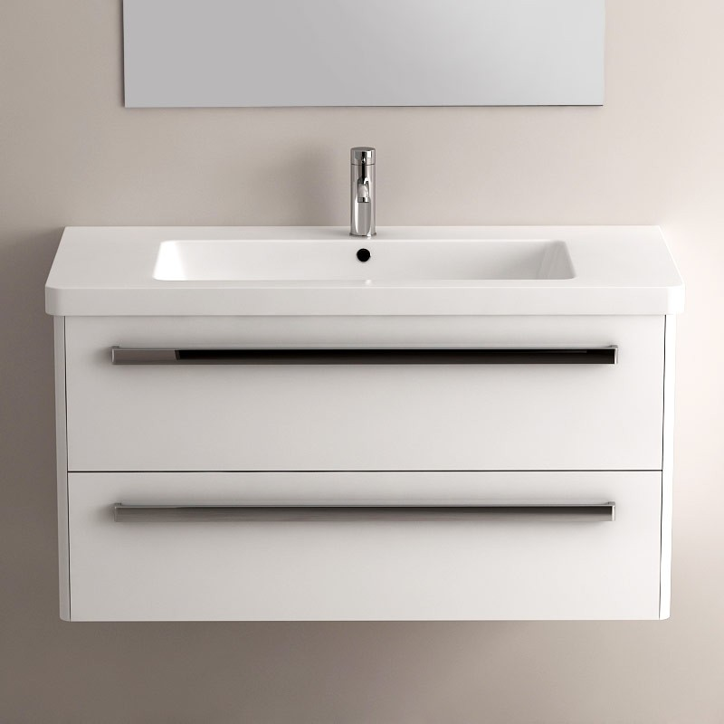 Esth tisme meuble easy blanc brillant 100 for Meuble salle de bain 100
