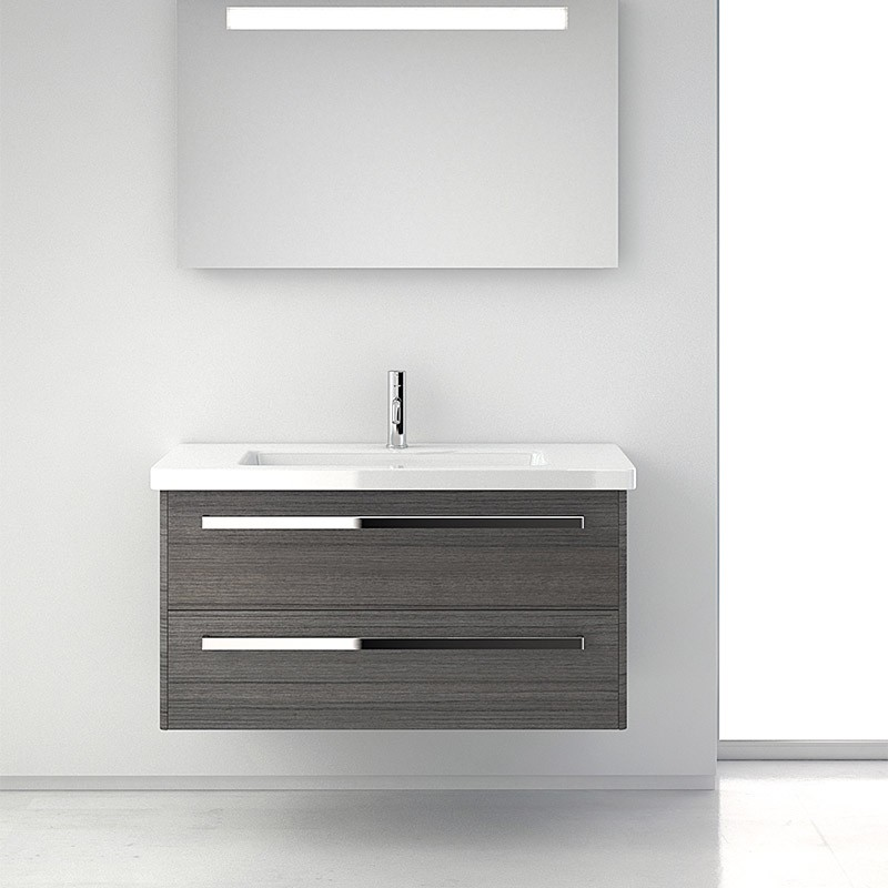 Meuble salle de bain gris 100 cm 2 tiroirs plan for Meuble salle de bain design gris