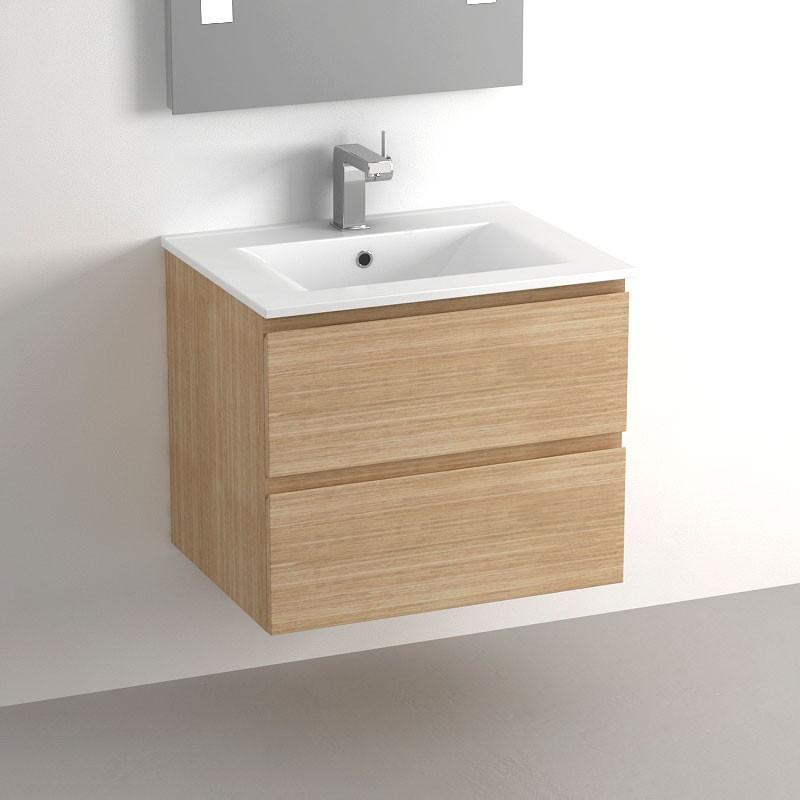Meuble salle de bain 60 cm ch ne 2 tiroirs plan c ramique cardo - Meuble salle de bain en chene ...