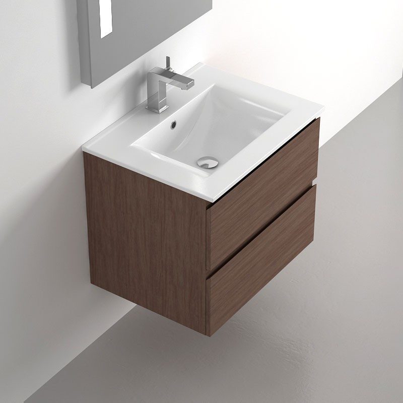 Meuble salle de bain 60 cm noyer 2 tiroirs plan for Meuble salle de bain qualite