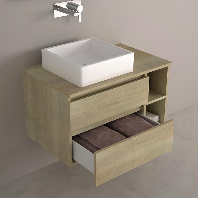 Meuble salle de bain ch ne 80 cm 2 tiroirs terra - Meuble salle de bain avec vasque posee ...