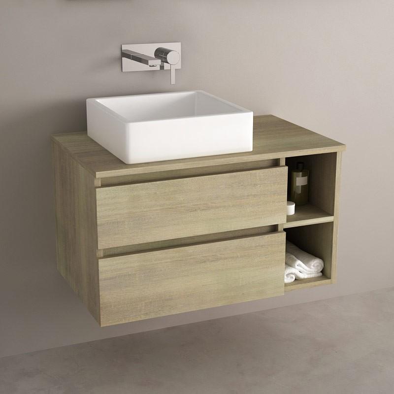 Meuble salle de bain ch ne 80 cm 2 tiroirs terra - Meuble de salle de bain de qualite ...