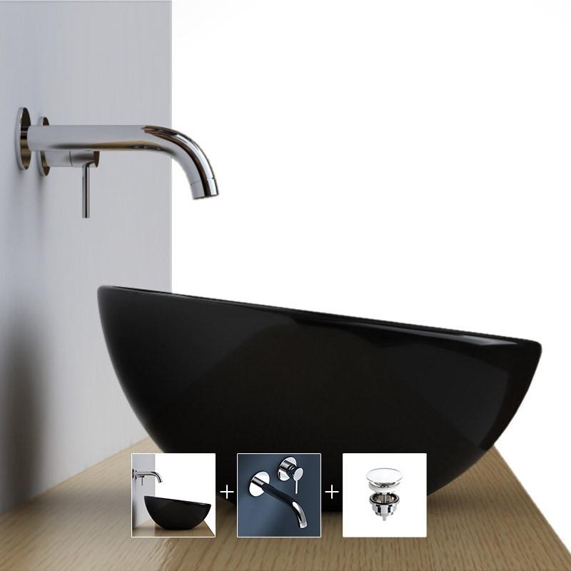 D couvrez pack promo vasque poser pure noire 42 for Robinet mural vasque