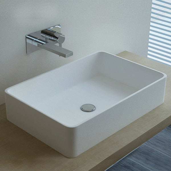 vasque poser en r sine rectangulaire 60x40 cm min ral. Black Bedroom Furniture Sets. Home Design Ideas