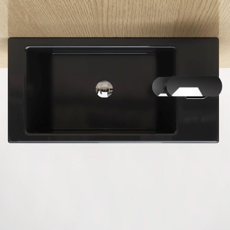 Lave main Noir gain de place 50x25 cm en céramique, Pure