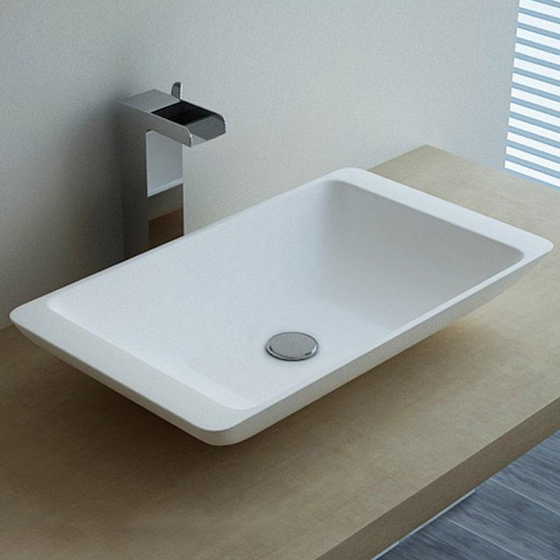 vasque poser en r sine rectangulaire 59x34 cm min ral. Black Bedroom Furniture Sets. Home Design Ideas