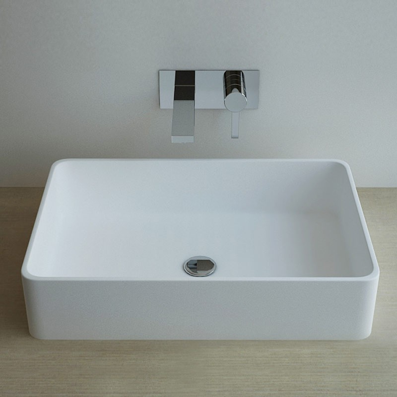 Vasque poser en r sine rectangulaire 60x40 cm min ral for Salle de bain rectangulaire 8m2