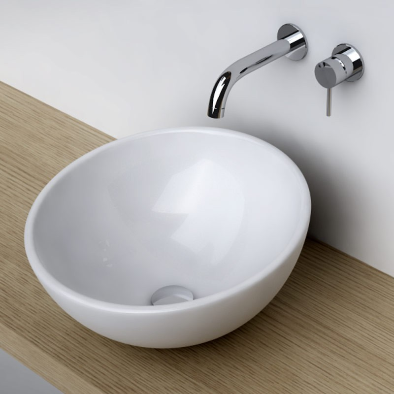 Vasque poser ronde bol 42 cm c ramique pure for Vasque salle de bain a encastrer