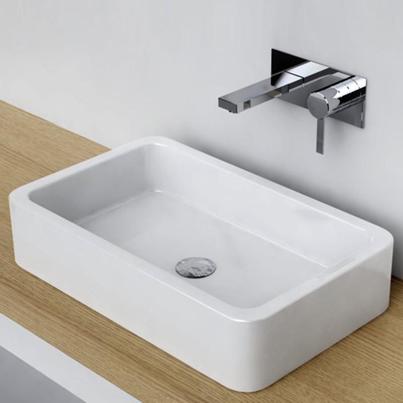 Vasque poser rectangulaire 58x36 cm c ramique pure - Vasque design a poser ...